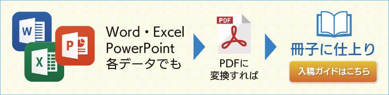 Word、Excel、Powerpointの各データでも、PDFに変換すれば入稿OK 冊子に仕上がり